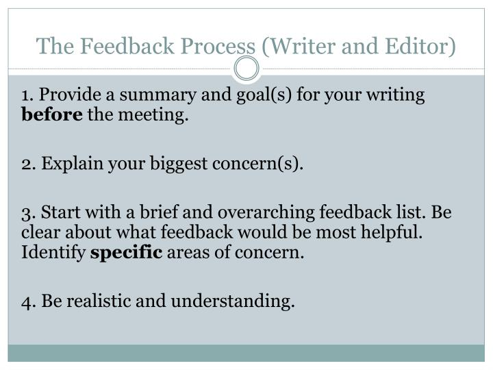 The Feedback Process (Writer and Editor)
