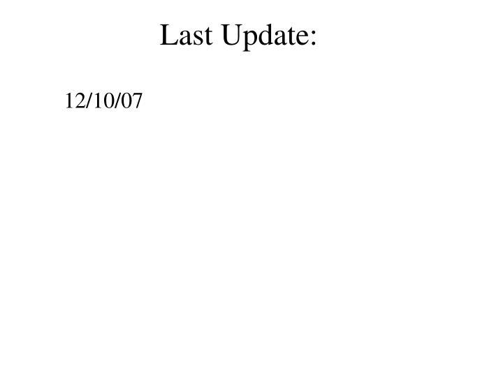 Last Update: