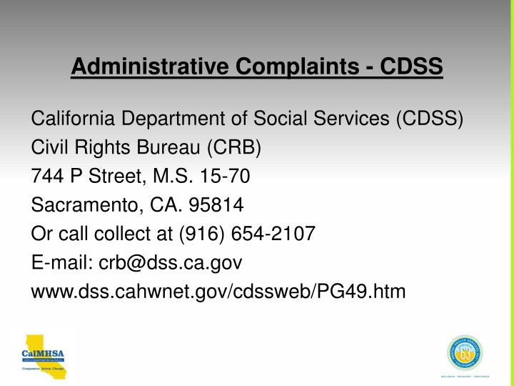 Administrative Complaints - CDSS