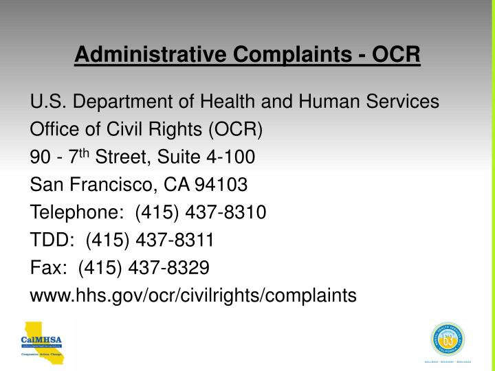 Administrative Complaints - OCR