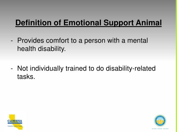 Definition of Emotional Support Animal