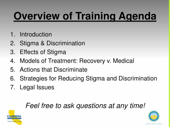 Overview of training agenda
