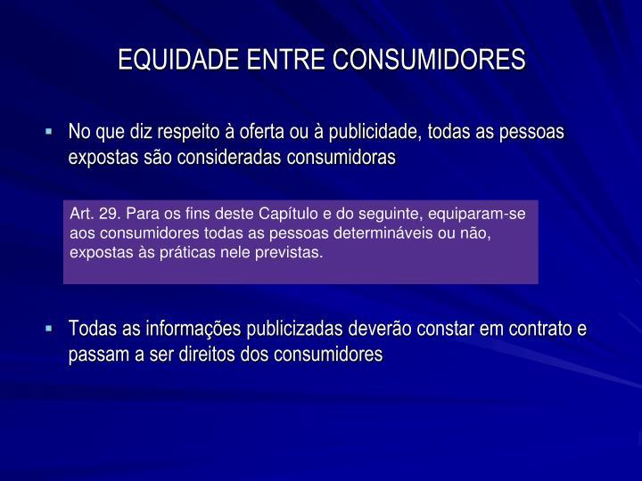 EQUIDADE ENTRE CONSUMIDORES