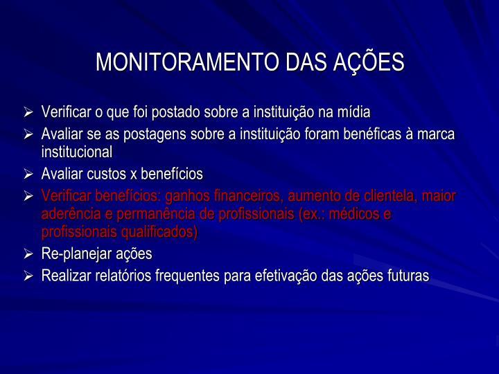MONITORAMENTO DAS AÇÕES