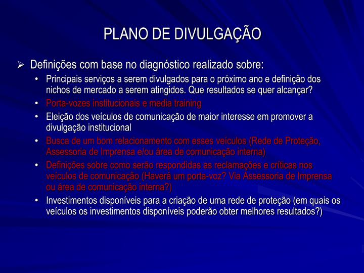 PLANO DE DIVULGAÇÃO