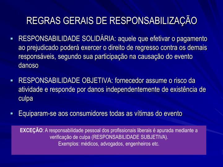 REGRAS GERAIS DE RESPONSABILIZAÇÃO