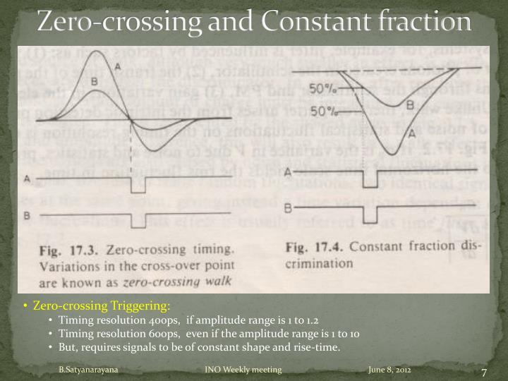 Zero-crossing and Constant fraction