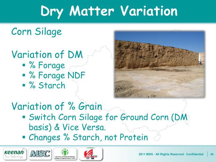 Dry Matter Variation