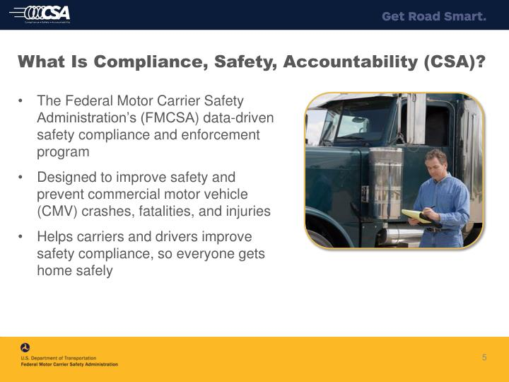 Ppt compliance safety accountability csa and for Federal motor carrier safety regulations pdf