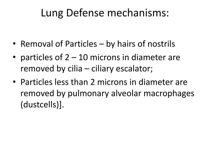 Lung Defense mechanisms:
