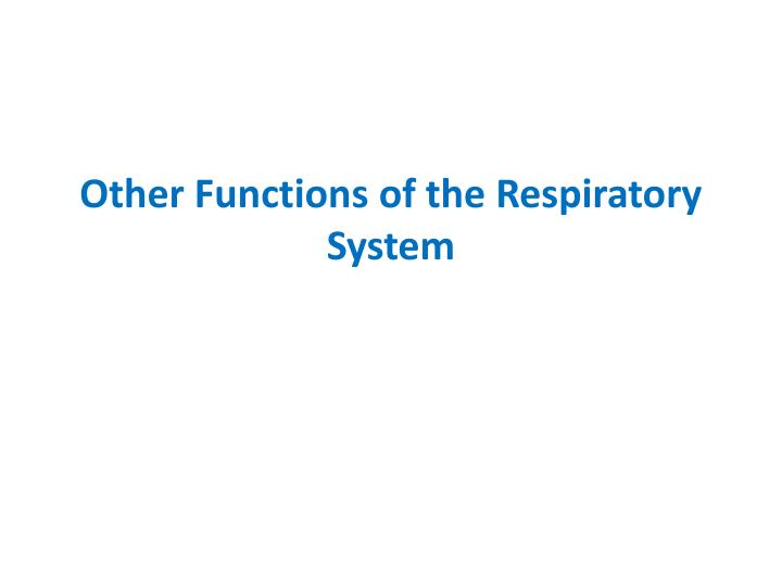 Other Functions of the Respiratory System