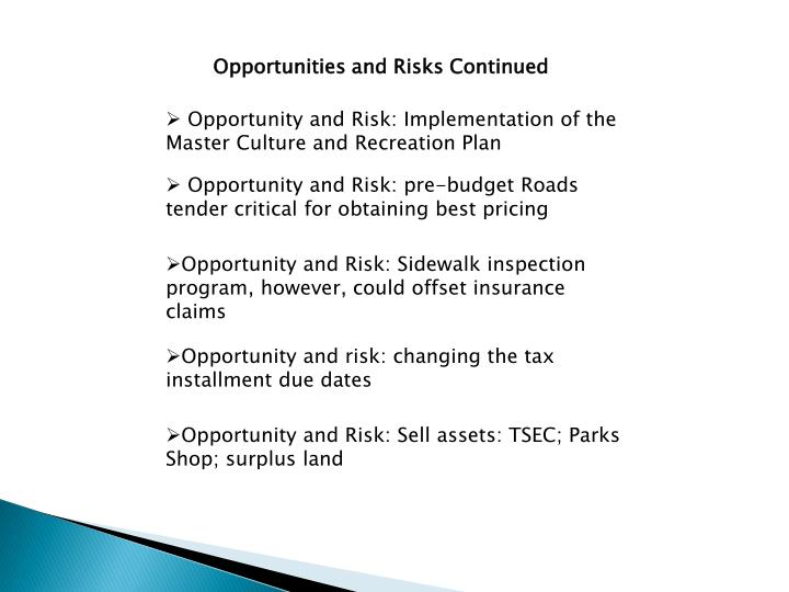 Opportunities and Risks Continued