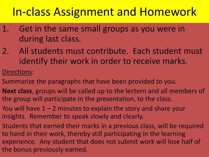 In-class Assignment and Homework