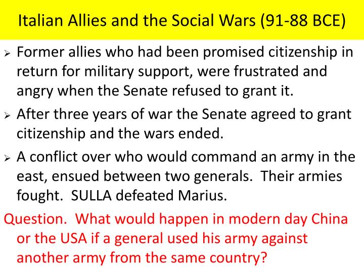 Italian Allies and the Social Wars (91-88 BCE)