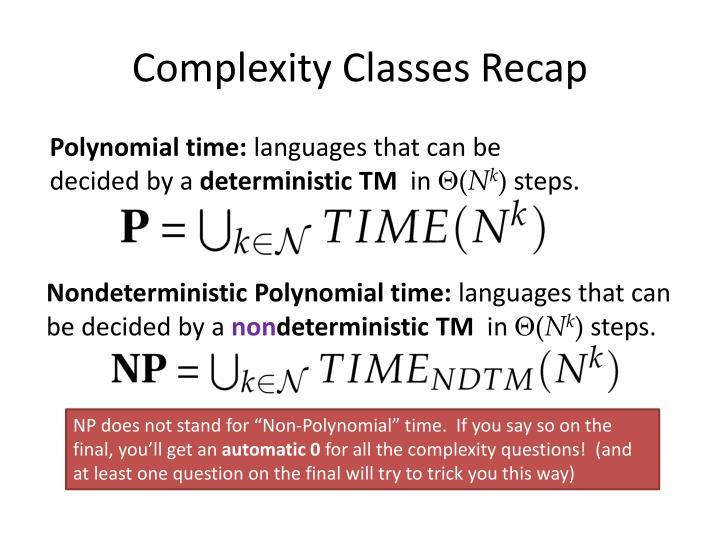 Complexity Classes Recap