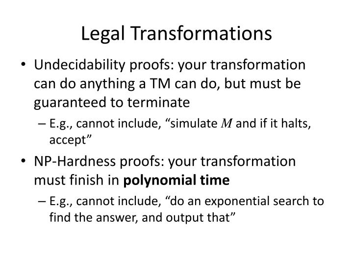 Legal Transformations