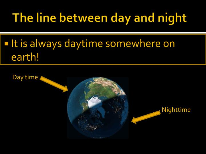 The line between day and night