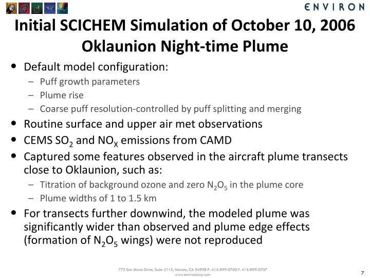 Initial SCICHEM Simulation of October 10, 2006
