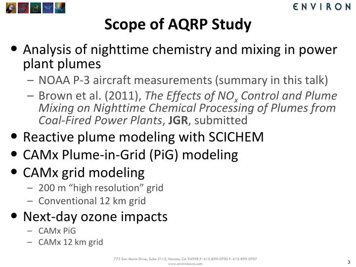 Scope of aqrp study