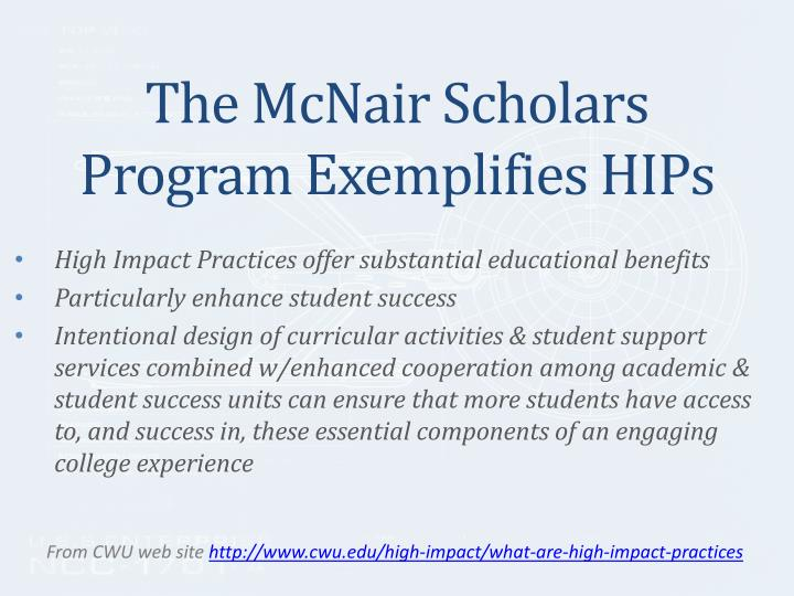 The mcnair scholars program exemplifies hips