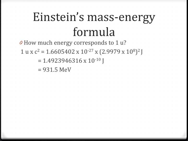 Einstein's mass-energy formula
