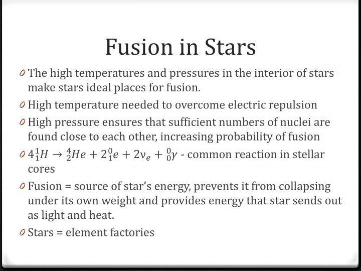Fusion in Stars