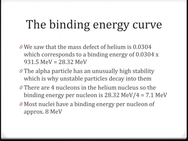 The binding energy curve