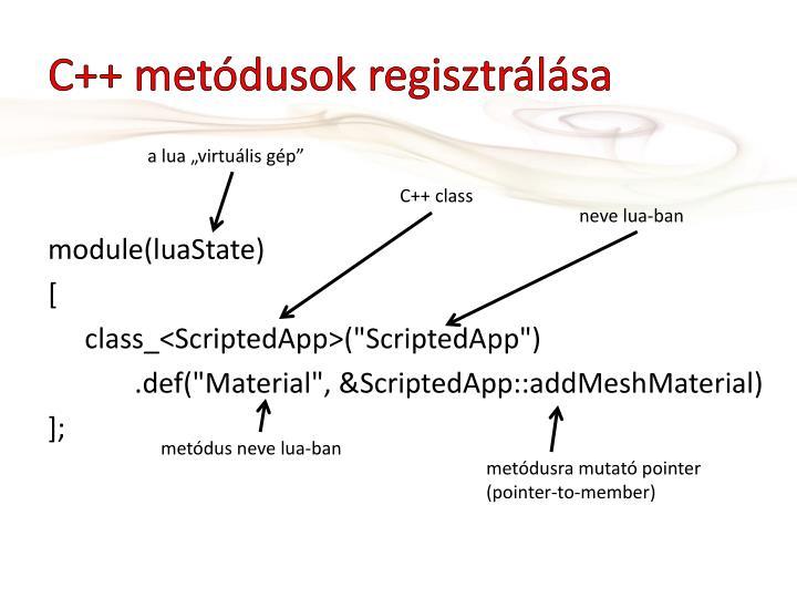 C++ metódusok regisztrálása