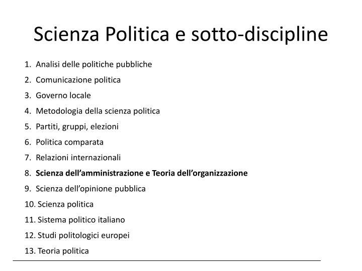 Scienza Politica e sotto-discipline