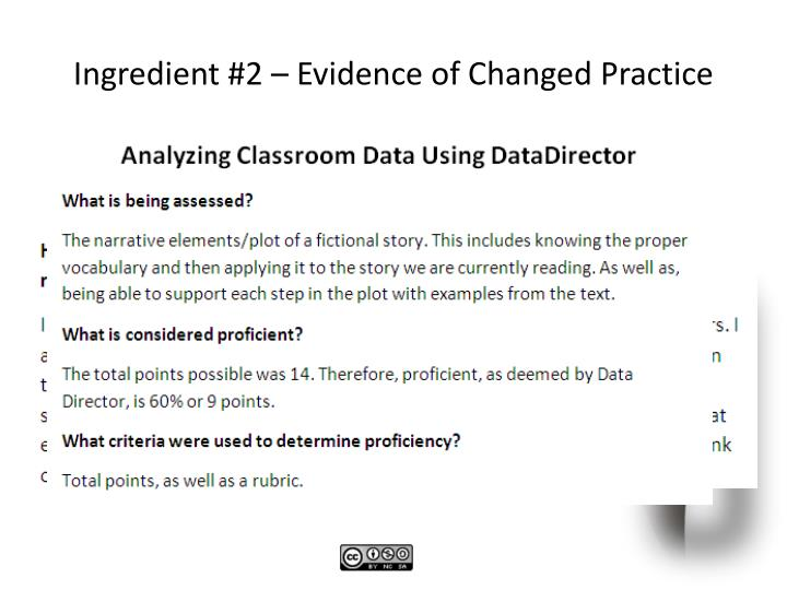 Ingredient #2 – Evidence of Changed Practice