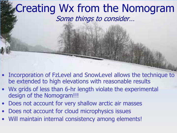 Creating Wx from the Nomogram