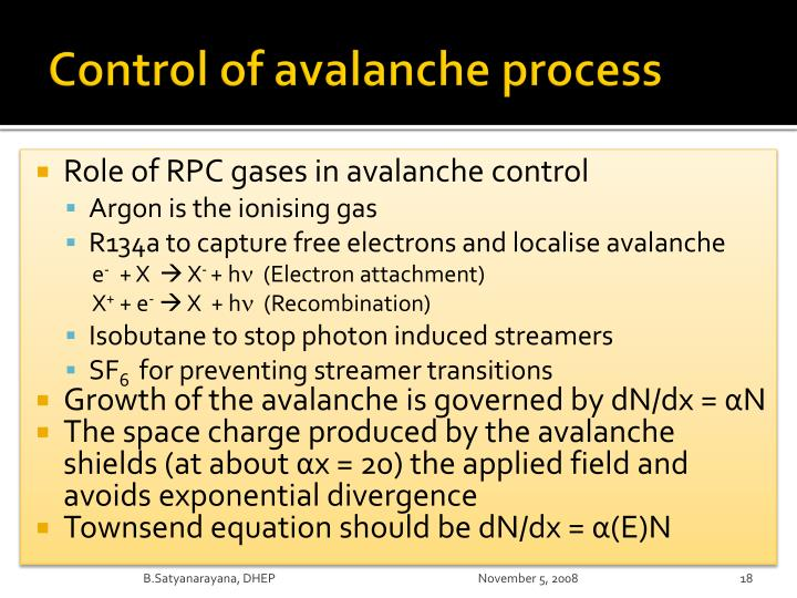 Control of avalanche process
