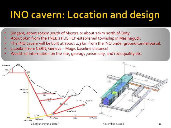 INO cavern: Location and design