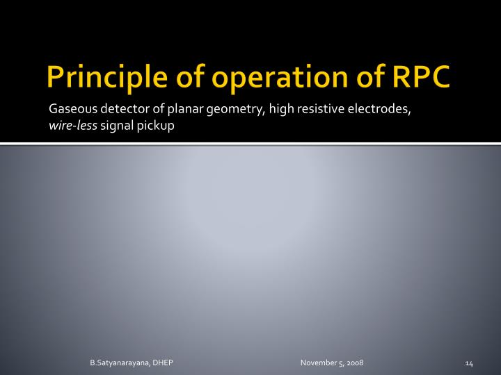Principle of operation of RPC