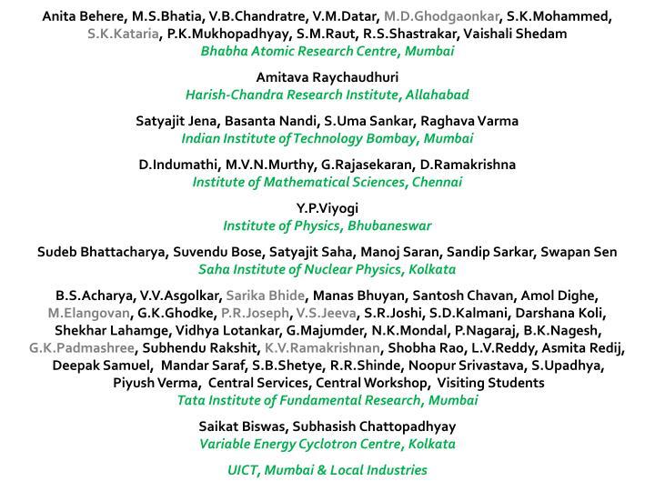 Anita Behere, M.S.Bhatia, V.B.Chandratre, V.M.Datar,