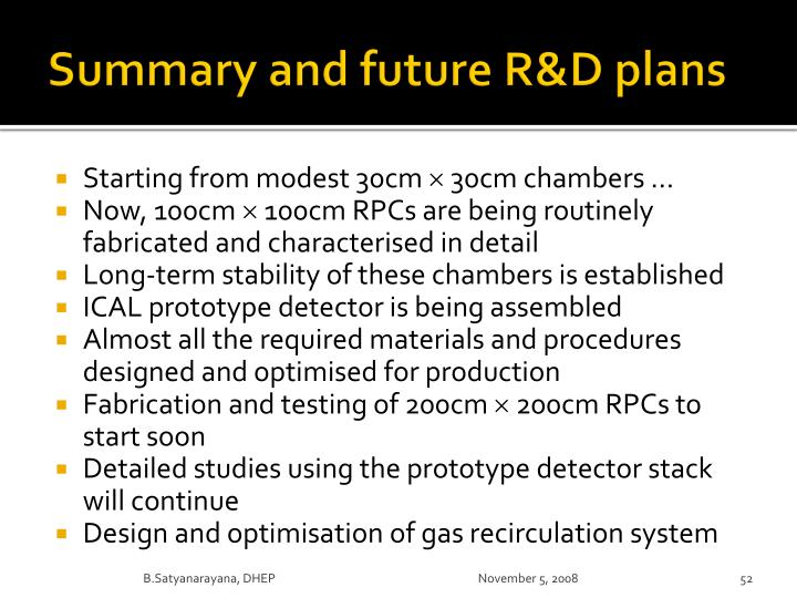 Summary and future R&D plans