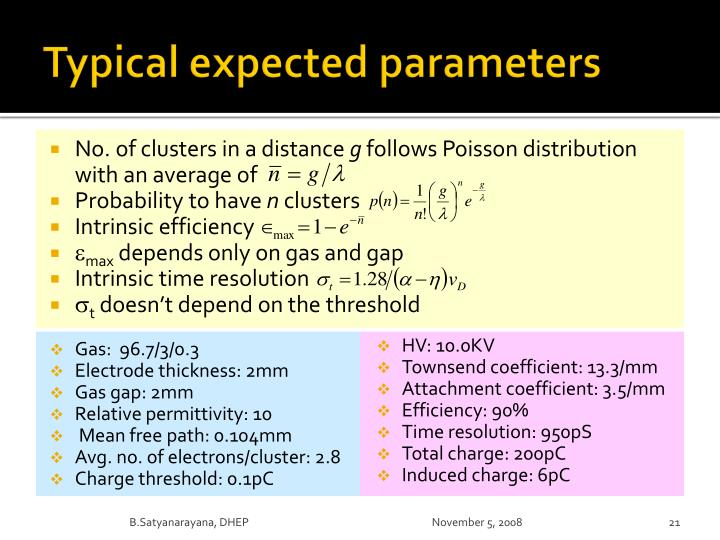 Typical expected parameters