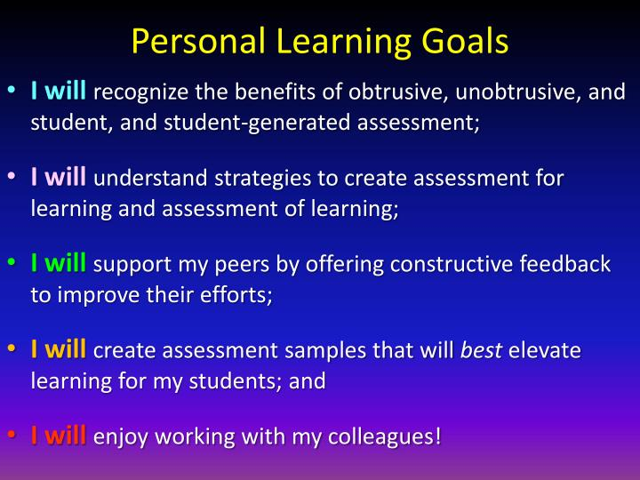 Personal Learning Goals