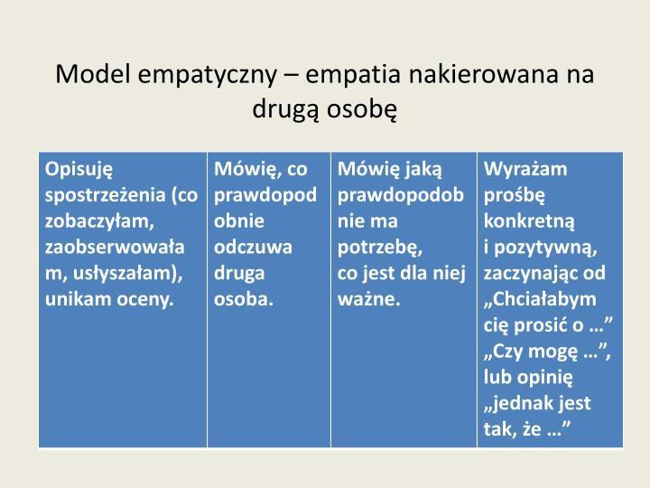 Model empatyczny – empatia nakierowana na  drugą osobę