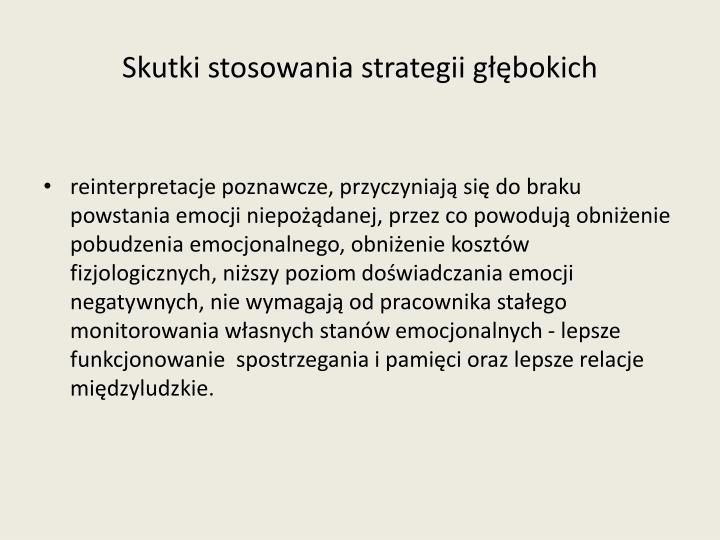 Skutki stosowania strategii głębokich