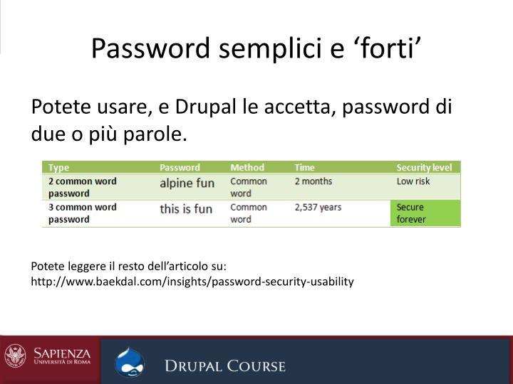 Password semplici e 'forti'