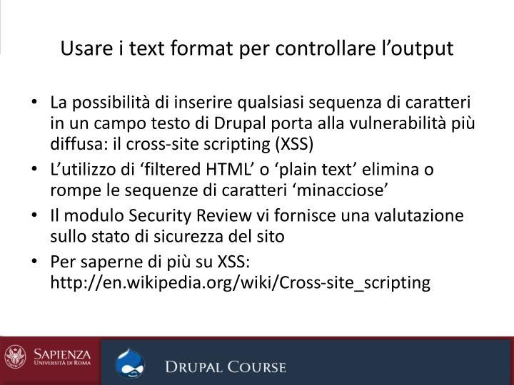 Usare i text format per controllare l'output