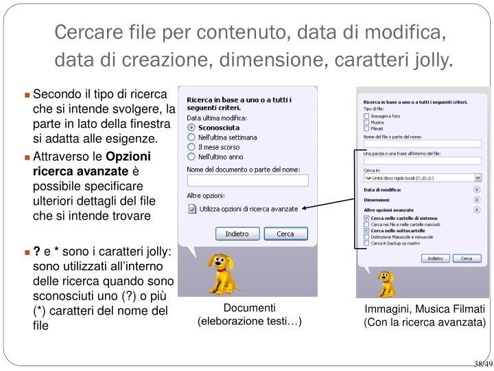 Cercare file per contenuto, data di modifica, data di creazione, dimensione, caratteri jolly.