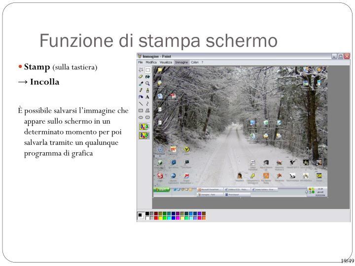 Funzione di stampa schermo