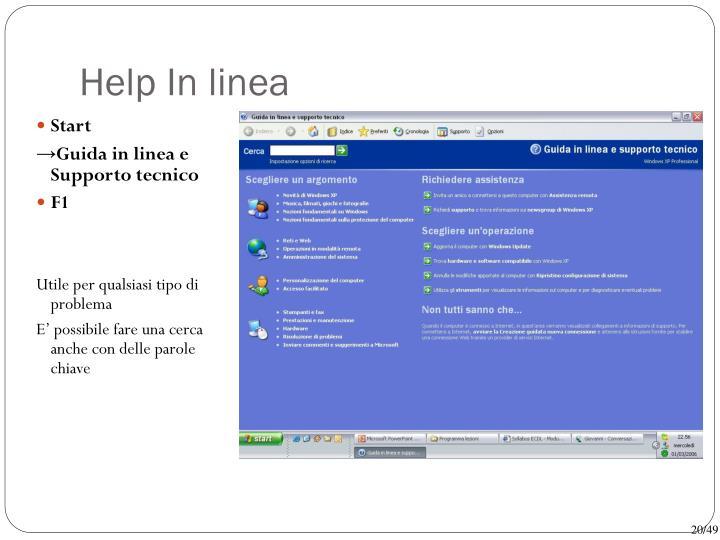 Help In linea
