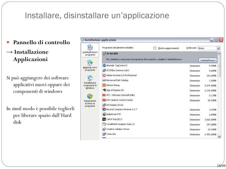 Installare, disinstallare un'applicazione