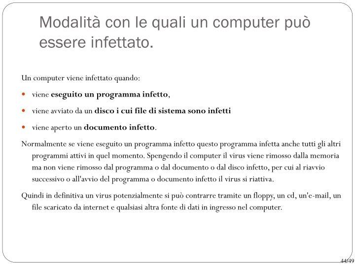 Modalità con le quali un computer può essere infettato.