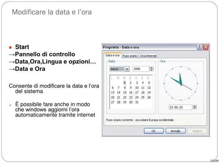 Modificare la data e l'ora