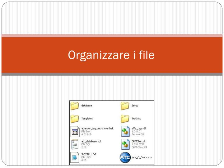 Organizzare i file