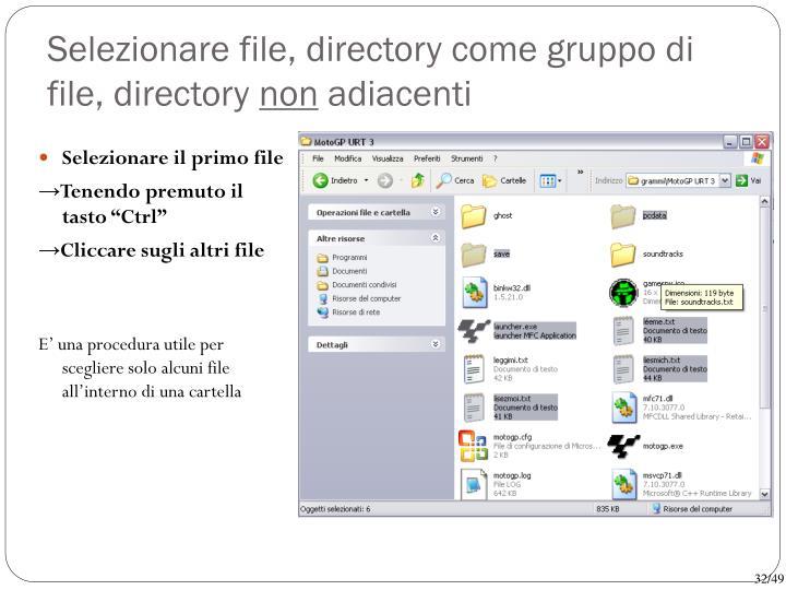 Selezionare file, directory come gruppo di file, directory
